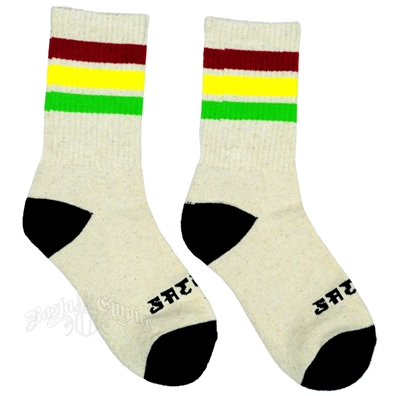 Rasta Stripes Cream Crew Sock