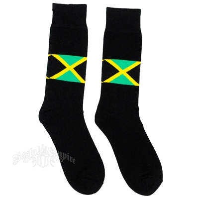 Jamaican Flag Black Crew Socks