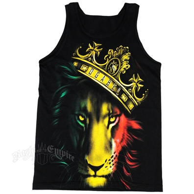 Fierce Rasta Lion And Crown Black Tank Top - Men's