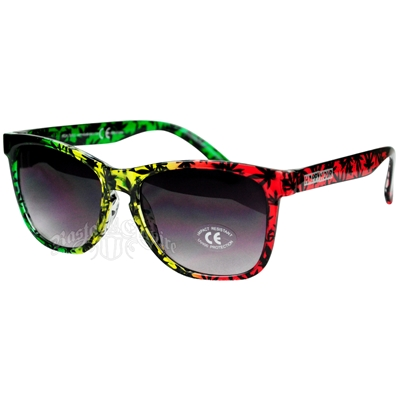 Rasta Leaf Pattern High Times Sunglasses
