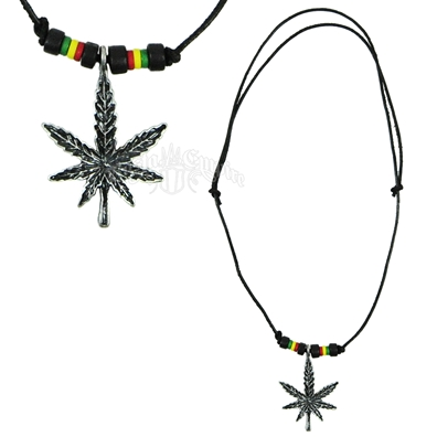 Black Leaf Rasta Beads Leather Chord Necklace