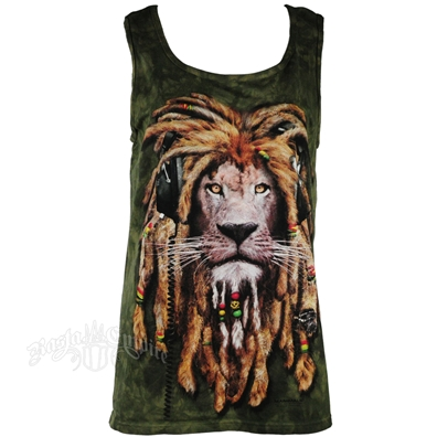 Rasta DJ Lion Olive Green Tie Dye Tank Top - Men's