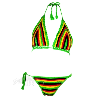Rasta Be Bold Crochet String Bikini Swimsuit