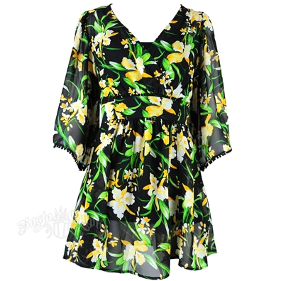 Jamaican Colors Floral Print Short Dress
