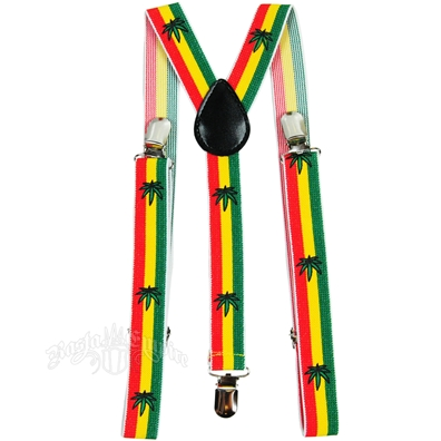 Rasta Stripe & Leaves Suspenders