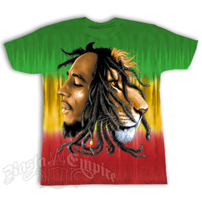 Bob Marley & Lion Profile Tie Dye   T-Shirt - Men's