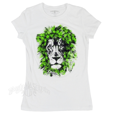 RastaEmpire Lion Marijuana Leaves White T-Shirt - Women's