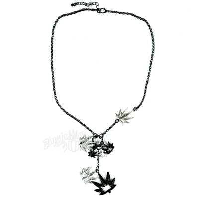 Silver and Black Mulitple Leaf Charm Necklace