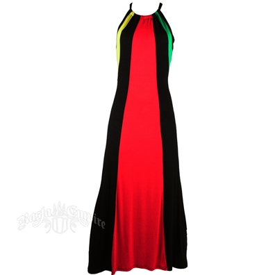 Rasta & Reggae Drawstring Razorback Maxi Dress