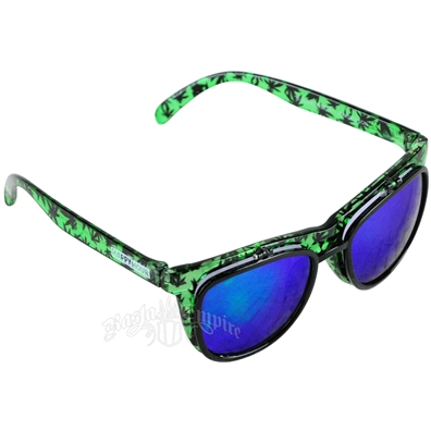 Green Leaf Pattern Smoke Eyes Flip-Up Sunglasses