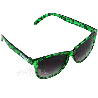 Green Leaf Pattern High Times Sunglasses