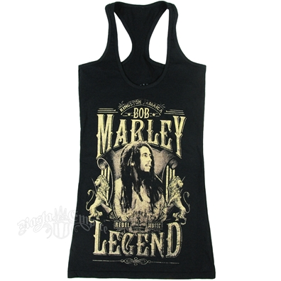 Bob Marley Legend Rebel Music Black Racer Tank Top - Women's