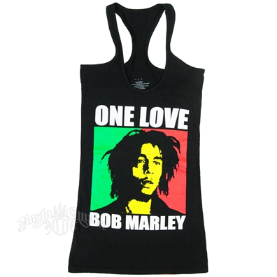 Bob Marley One Love Rasta Block Black Racer Tank Top - Women's