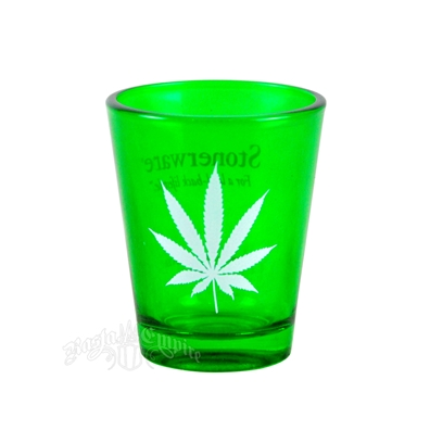 Stonerware Marijuana Leaf Green Shot Glass