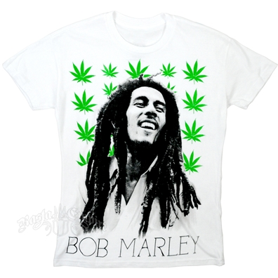 Bob Marley Pot Pattern White T-Shirt - Men's