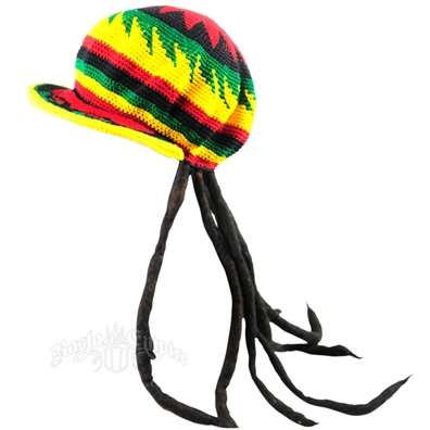 Adult Fake Dreadlock Wig with Rasta Crochet Brimmed Applejack Hat
