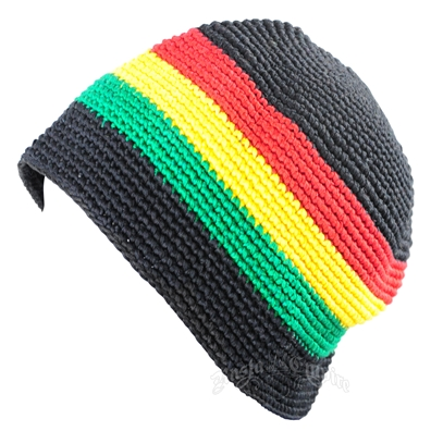 Black With Rasta Stripe Skull Cap