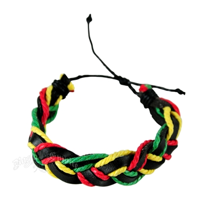 Braided Rasta String and Leather Bracelet