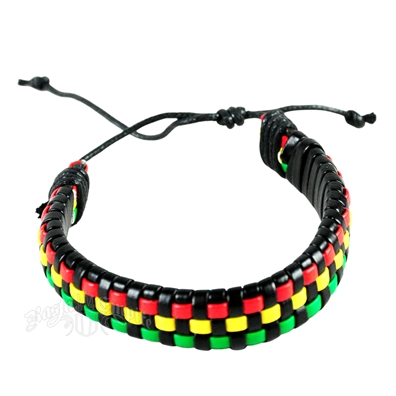 Woven Lace Rasta Leather Bracelet