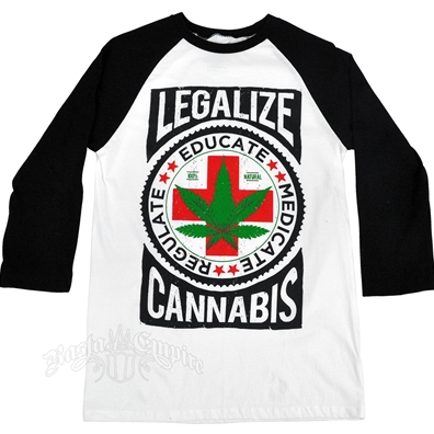 Seven Leaf Legalize Cannabis White & Black Baseball T-Shirt – Men's