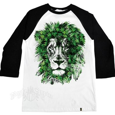 RastaEmpire Lion Marijuana Leaves White & Black Baseball T-Shirt – Men's