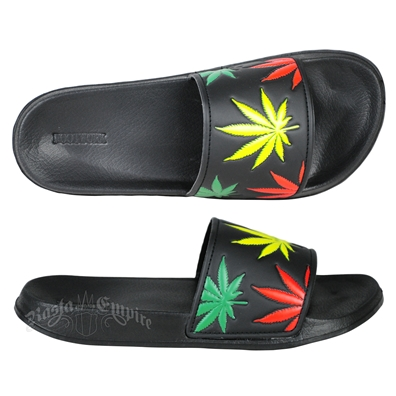Rasta Marijuana Leaves Black Slide Sandals