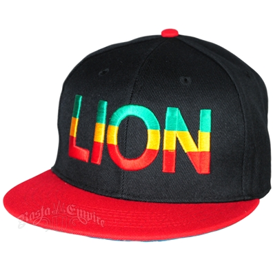 Rasta Lion Black With Red Brim Cap