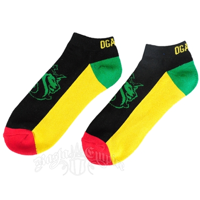 Rasta Lion of Judah Black Ankle Socks - 2 Pack