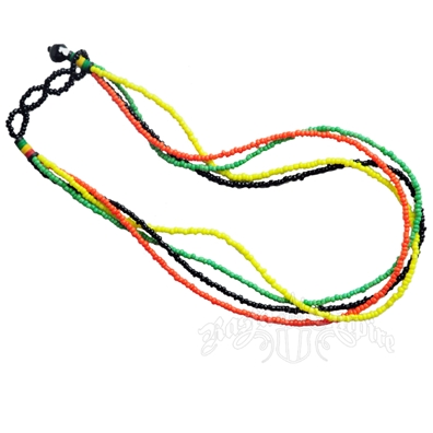 Rasta Triple Strand Bead Necklace