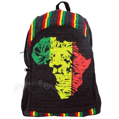Rasta Africa Lion & Stripes Hemp Backpack