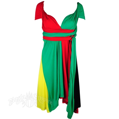 Rasta Color Block Short Wrap Dress