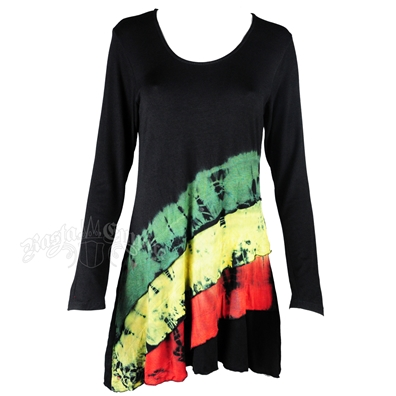 Rasta and Reggae Diagonal Tie-Dye Long Sleeve Dress