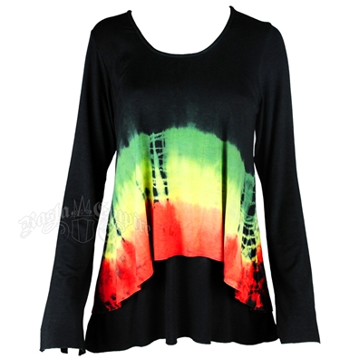 Rasta and Reggae Double Layer Tie-Dye Long Sleeve Top