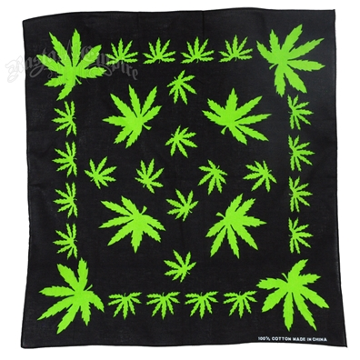 Pot Leaves Black Bandana