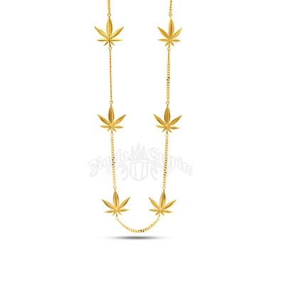 Weed Leaf Gold Charm Necklace