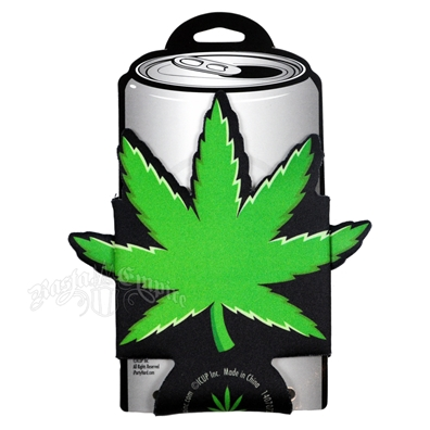 Weed Leaf Die-Cut Can Koozie