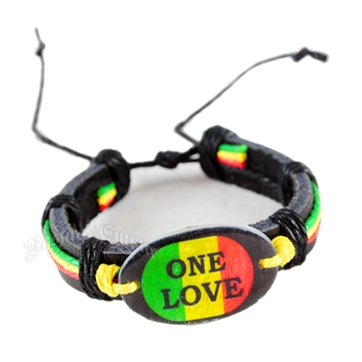 Rasta One Love Leather Bracelet