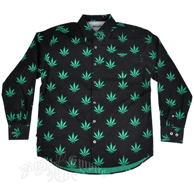 Marijuana Leaves Black & Green Button Down Long Sleeve Shirt - Men's