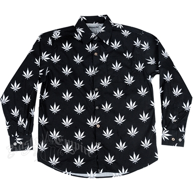Marijuana Leaves Black & White Button Down Long Sleeve Shirt - Men's