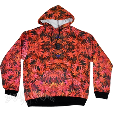 Weed Leaf Red Hoodie - Men's
