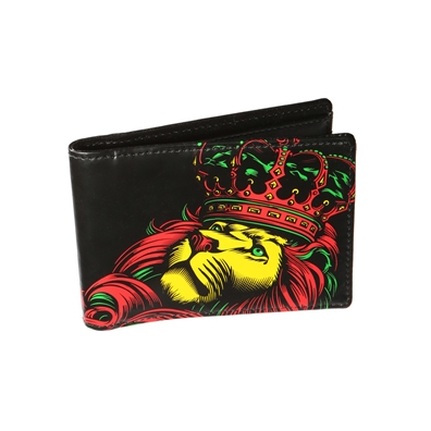 Rasta Lion and Crown Black Wallet