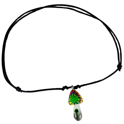 Rasta Mushroom Leather Necklace