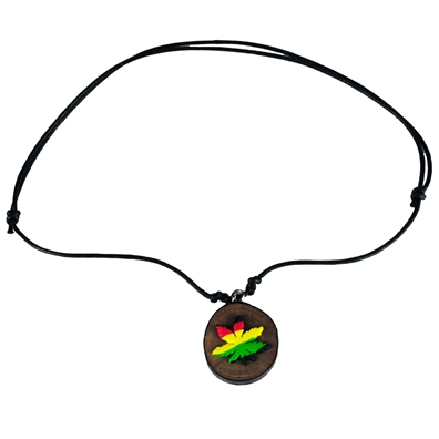 Rasta Pot Leaf Leather & Wood Necklace