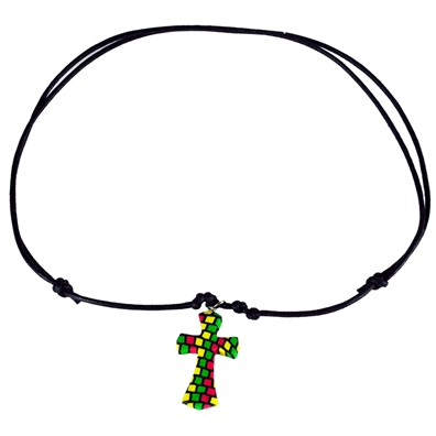 Rasta Fimo Cross Leather Necklace
