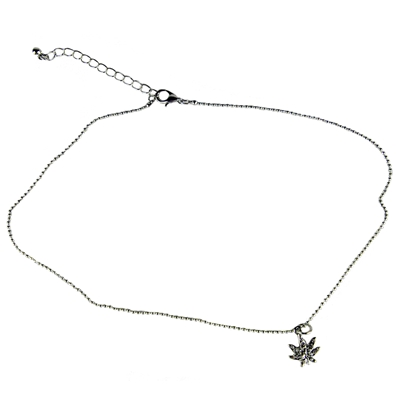 Rhinestone Pot Leaf Pendant Curb Chain Necklace