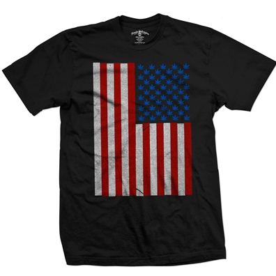 Seven Leaf Pot Leaf Stars American Flag Black T-Shirt – Men's