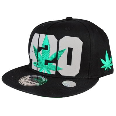 420 Pot Leaf Hat - Black