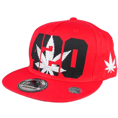 420 Pot Leaf Hat - Red