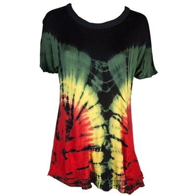Rasta and Reggae Scoopneck Tie Dye Shirt