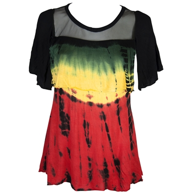Rasta and Reggae Sheer Frill Tie Dye Top